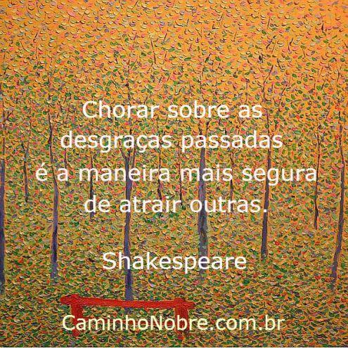 Chorar sobre as desgraças é a maneira mais segura de atrair outras. Shakespeare