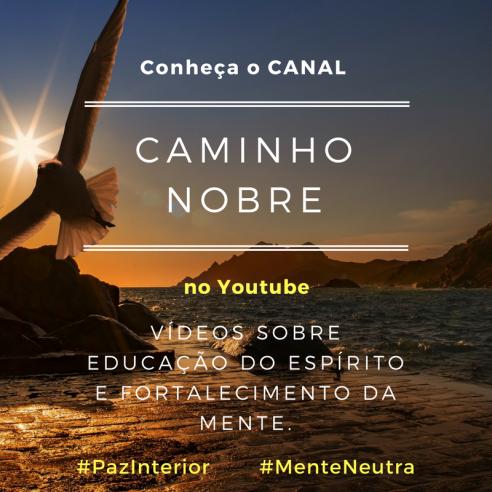 Conheça o Canal Caminho Nobre no Youtube. Vídeos sobre a educação do espírito e fortalecimento da mente