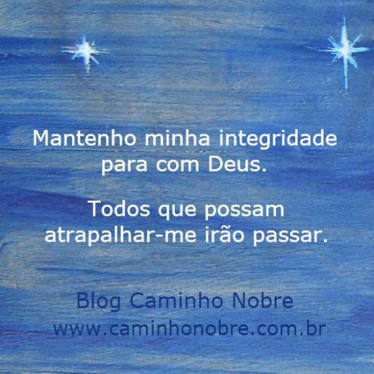 Mantenho minha integridade para com Deus. Todos que possam atrapalhar-me irão passar. Blog Caminho Nobre