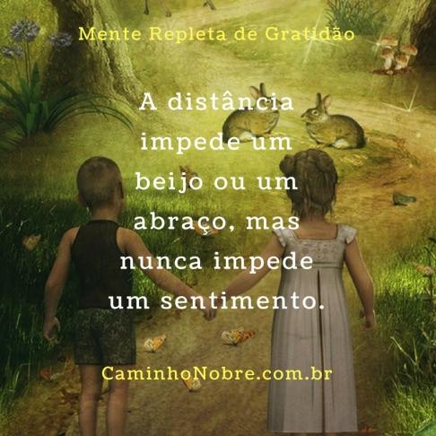 A distância impede um beijo ou um abraço, mas nunca impede um sentimento.