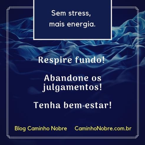 Sem stress, mais energia. Respire fundo! Abandone os julgamentos! Tenha bem-estar! Blog Caminho Nobre